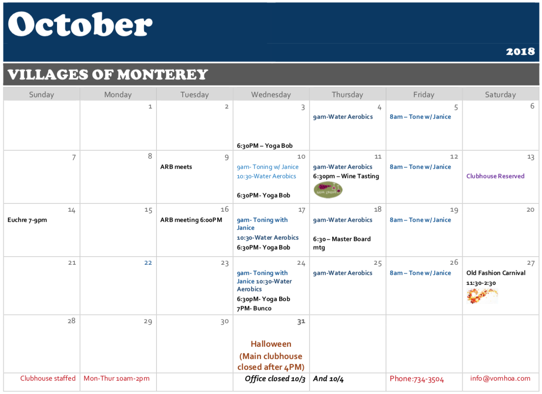Villages of Monterey - October 2018 Calendar of Events