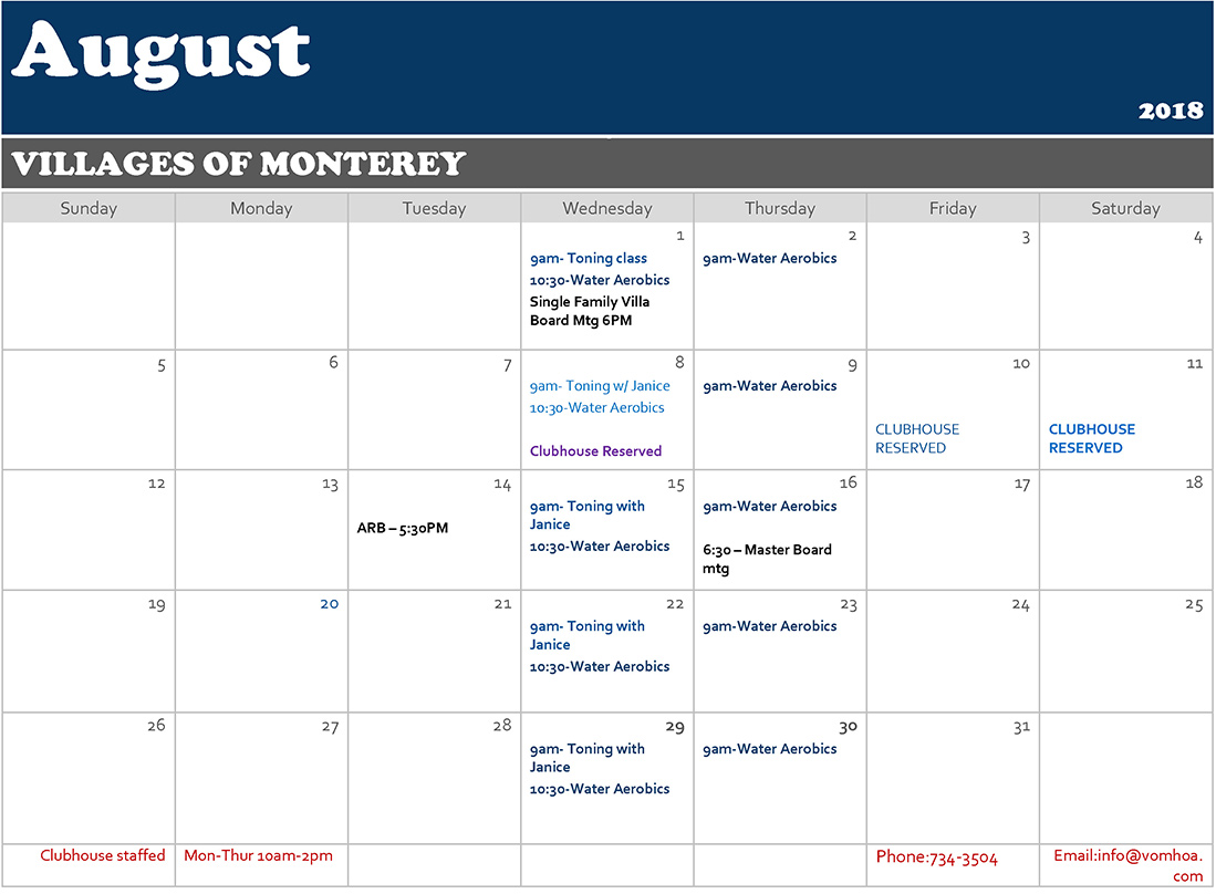 Villages of Monterey - July 2018 Calendar of Events
